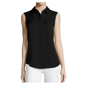 Theory Tanelis Sleeveless Silk Blouse Top S Black